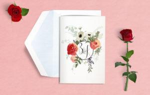 zaproszenie ślubne zdobne w bukiet kwiatów
